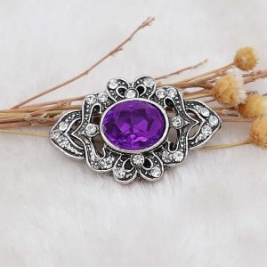 20MM design snap silver Plated with purple rhinestone KC6905 snaps jewelry