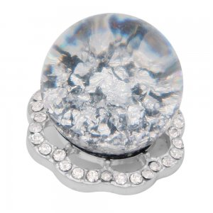 25MM Glossy Spherical opal white Amber snap Silver Plated with Rhinestone KC7975 snaps jewelry