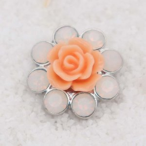 20MM orange flower snap Silver Plated with  rhinestone KC7925 snaps jewelry