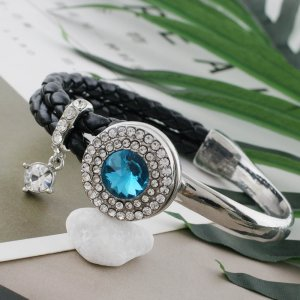 20MM Round snap Silver Plated with blue rhinestone KC9880 snaps jewelry