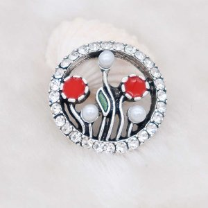 20MM Botany snap Silver Plated with white rhinestone KC7977 snaps jewelry