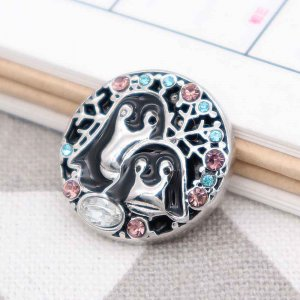 20MM penguin snap silver Plated with Rhinestone and black enamel KC9094 snaps jewerly