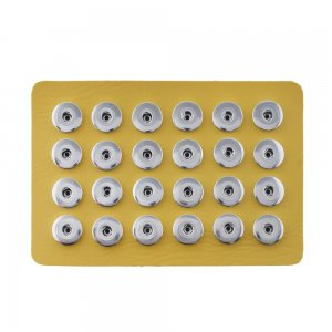 Display of 24 pieces PU leather yellow type for 18&20MM snaps chunks