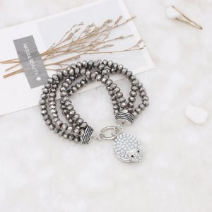 Gray Crystal Bead elastic rope Adjustable Bracelet Fit 20MM snaps chunks KC0816