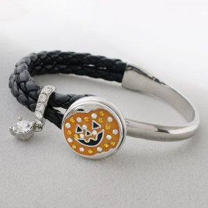 20MM Halloween sliver Plated with orange rhinestone and enamel KC9875 snaps jewelry
