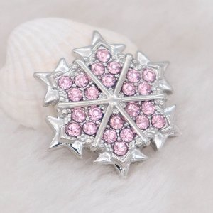 20MM design snap Silver Plated with pink rhinestone KC7990 snaps jewelry