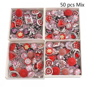 50pcs / lot Botones a presión 20mm Mix Red, rose, pink mixmix colors