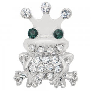 20MM Frog snap Silver Plated with Green and white rhinestone KC7994 snaps jewelry