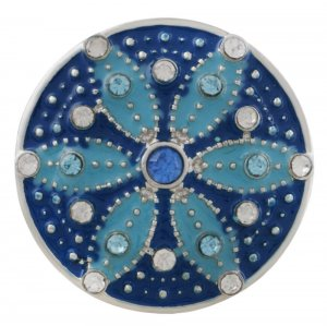 20MM round sliver Plated with white rhinestone and dark blue enamel KC6552 snaps jewelry