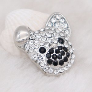 20MM dog snap Silver Plated with black and white rhinestone KC7987 snaps jewelry