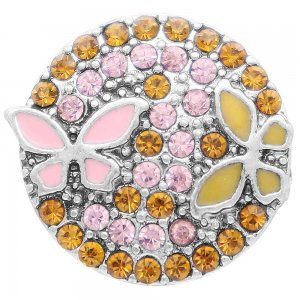 20MM  Butterfly snap Silver Plated with yellow rhinestone and enamel KC7923 snaps jewelry