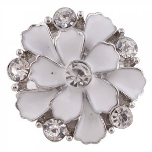 20MM Flower snap silver Plated with white Rhinestones and Enamel KC7348 snaps jewelry