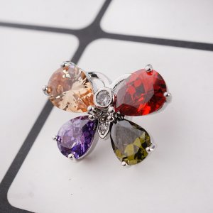 20MM Butterfly snap button Silver Plated with colorful  zircon  KC9034 Multicolor