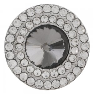 20MM Round snap Silver Plated with gray rhinestone KC9886 snaps jewelry