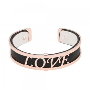 Copper Bangle with real leather black/white double side TA7026