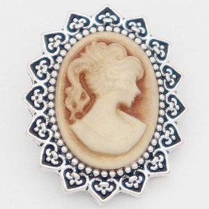 20MM lady snap Plateado con resina amarilla KC6886 broches de joyería