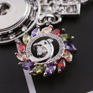 20MM dolphin snap button  Silver Plated with colorful zircon  KC9022 snap jewelry