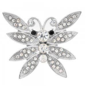 20MM Butterfly snap silver Plated with white rhinestone KC6967 snaps jewelry