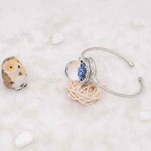 25MM Glossy Spherical opal blue Amber snap Silver Plated with Rhinestone KC7973 snaps jewelry