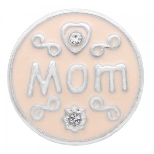 20MM mother snap silver Plated with white Rhinestones and enamel  KC7762 snaps jewerly