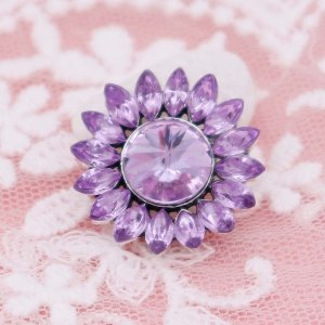 20MM flower snap with purple rhinestones  KC6945 snaps jewelry