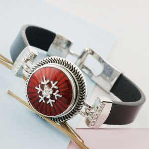 20MM Christmas snap sliver Plated with rhinestone and red enamel KC7651 snap jewelry