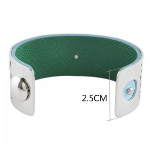 Stainless Steel Bangle sliver with real leather blue/green double side TA7022