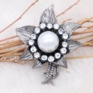 20MM Flowers design snap  Plated white pearl KC7997 snaps jewelry