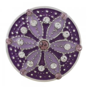 20MM round sliver Plated with  rhinestone and purple enamel KC6550 snaps jewelry