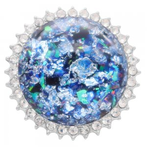 25MM Hand-made Thick glossy round  Amber snap Silver Plated with Rhinestone KC7958 blue