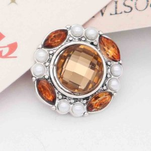 20MM snap Silver Plated with Orange rhinestone And pearls KC7840 snaps jewelry