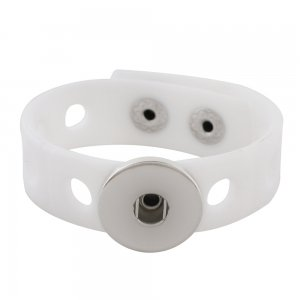 18cm kid junior style bracelet with 15mm width white silicone stretch fit 20mm snap button
