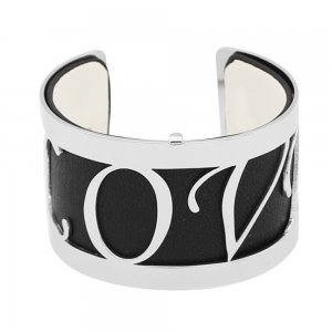Copper Bangle with real leather black/white double side TA7032