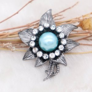 20MM Flowers design snap  Plated blue pearl KC8000 snaps jewelry