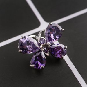 20MM Butterfly snap button Silver Plated with purple zircon  KC9033 snap jewelry