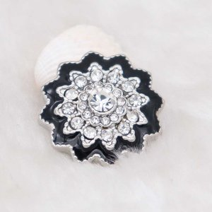 20MM design snap silver Plated with white rhinestone KC6939 snaps jewelry