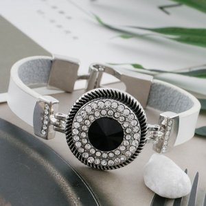 20MM Round snap Silver Plated with black rhinestone KC9885 snaps jewelry