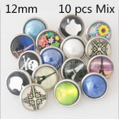 10pcs/lot glass and resin snap buttons MixMix many styles 12mm Snap buttons MIX style for random Snaps Jewelry
