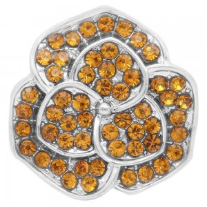20MM flower snap Silver Plated with Orange rhinestone KC7848 snaps jewelry