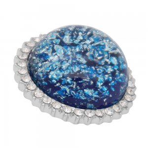 25MM Hand-made Thick glossy round  Amber snap Silver Plated with Rhinestone KC7952 Blue
