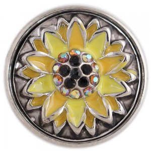 20MM yellow Sunflower round snap button Antique Silver Plated with Rhinestone and Enamel KC9708 snap jewelry