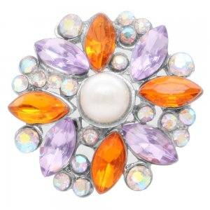 20MM design snap silver Plated with orange  rhinestone and pearl KC6928 snaps jewelry