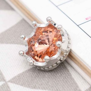20MM crown snap Silver Plated with orange rhinestone KC6814 snaps jewelry