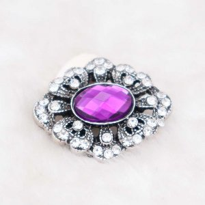 20MM design snap silver Plated with purple rhinestone KC6929 snaps jewelry