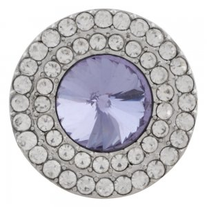 20MM Round snap Silver Plated with purple rhinestone KC9882 snaps jewelry