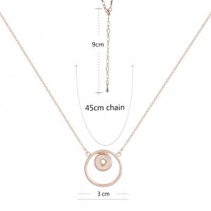 Rose Gold  Necklace with 45CM chain KS1165-S fit 12mm snaps jewelry