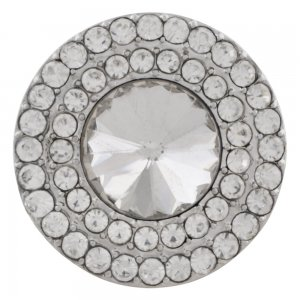 20MM Round snap Silver Plated with white rhinestone KC9884 snaps jewelry