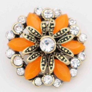 20MM design snap gold Plated with orange rhinestone KC6821 snaps jewelry