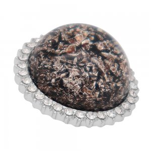 25MM Hand-made Thick glossy round Amber snap Silver Plated with Rhinestone KC7957 black grey