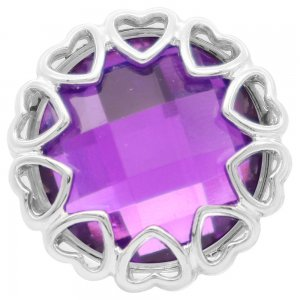 20MM love snap Silver Plated with purple rhinestone KC7859 snaps jewelry
